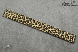 Bracelet lanière tissu motif léopard