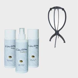 Kit accessoires et produit pour entretenir une perruque synthétique