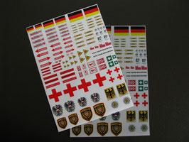 Decalbögen mit Hoheits- , Warn- und Hinweiszeichen für 500er -700er