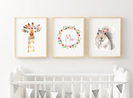 Posterset Giraffe 3 x A4 with name