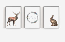 Posterset forest animals 3 x A4 with name deer and hare