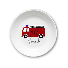 Kids plate with name fire engine 112
