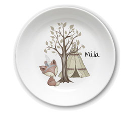 Kids plate with name fox Mila with tent