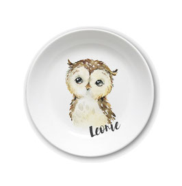 Kids plate with name owl Leonie