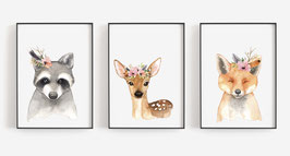 Posterset forest animals with flowers 3 x A4