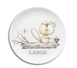 Large plate with name squirrel with blue flower