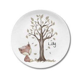 Large plate with name fox girl Lilly