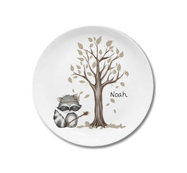 Large plate with name racoon with arrow