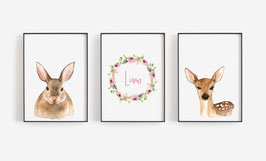 Posterset forest animals 3 x A4 with name hare and fawn