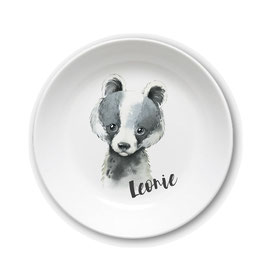 Kids plate with name badger Leonie