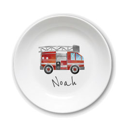 Kids plate with name fire engine water color