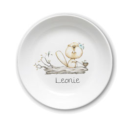 Kids plate with name squirrel with blue flower