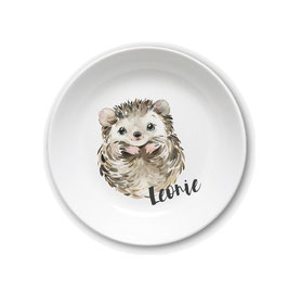 Kids plate with name hedgehog Leonie