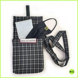 KIT: mascherina portafiltro con 3 filtri + braccialetto con moschettone + borsetta portamascherina