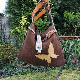 "Tote Bag ""Flanerie"" marron chocolat motif Papillon"