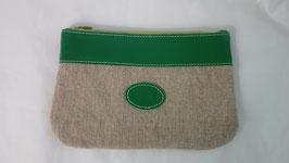pochette en cuir vert vif et lin écru grand modèle