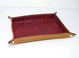 Vide-poche en cuir de vachette pleine fleur bordeaux, façon autruche