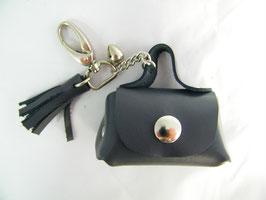 Porte-clés en cuir gris et grelot