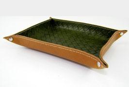 Vide-poche en cuir de vachette pleine fleur vert olive