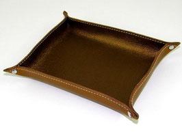 Vide-poche en cuir de vachette pleine fleur bronze