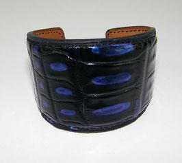 Bracelet Manchette large en croco véritable noir et bleu