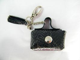 Porte-clés en cuir serpent noir et grelot