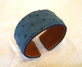 Bracelet Manchette en autruche bleu jean