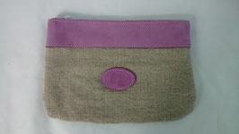 pochette en cuir lilas et lin écru grand modèle