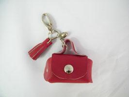 Porte-clés en cuir framboise et grelot