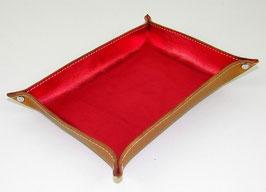 Vide-poche en cuir de vachette pleine fleur rouge vif