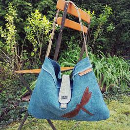 "Tote Bag ""Flanerie"" bleu jean Motif Libellule"