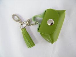 Porte-clés en cuir vert olive grelot