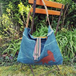 """Tote Bag """"Flanerie"""" bleu jean motif chat"""