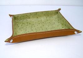 Vide-poche en cuir de vachette pleine fleur  vert amande façon autruche