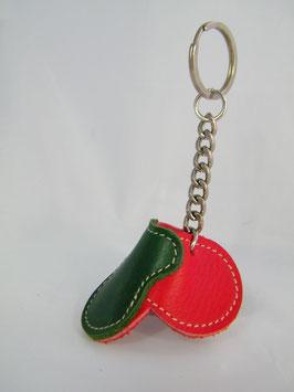 """Porte-clés """"selle"""" rouge et vert"""