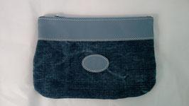 pochette en cuir bleu et lin bleu jean grand modèle