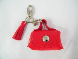 Porte-clés en cuir rouge et grelot