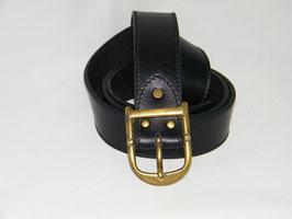 ceinture cuir noir boucle laiton massif mod 4.0/n11