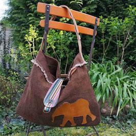 """Tote Bag """"Flanerie"""" marron motif éléphant"""