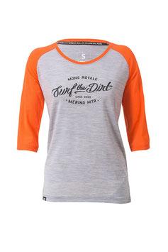 Mons Royale Shirt 3/4 Arm - Phoenix Raglan Tangelo / Grey Marl