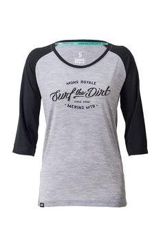 Mons Royale Shirt 3/4 Arm - Phoenix Raglan Black / Grey Marl