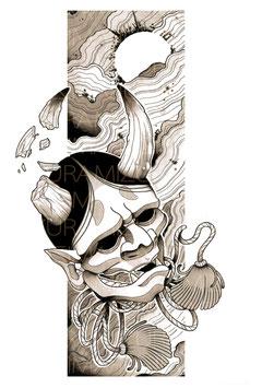 Illustration limitée encadrée : Hannya