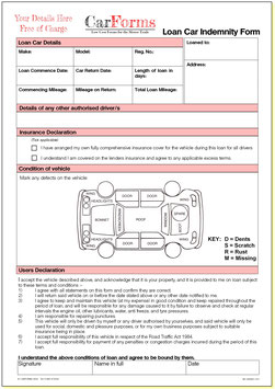 Loan Car Indemnity Forms