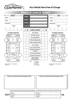 Car Rental Damage Checklists