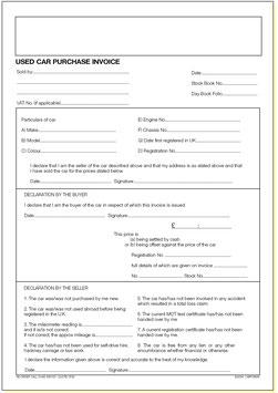 Used Car Purchase Invoices