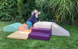 Krabbelstrecke 30cm hoch 6-teilig ! in pastell mit Wippe + Welle