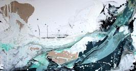 """Gemälde in petrol odr blau malen lassen ähnlich """"Surfende Gedanken"""" als Auftrag"""