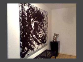 Auftragsmalerei - Titel: Abstrakter Eyecatcher in beige schwarz weiß