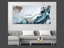 Titel: Surfende Gedanken nr. 1 - abstraktes weisses Bild - 80 x 140 cm