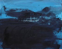 blaues Gemälde 100 x 80 cm - Man muss auch mal alleine sein